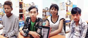 Quattro nuovi studenti della Bottega dell'Arte di Phnom Penh.